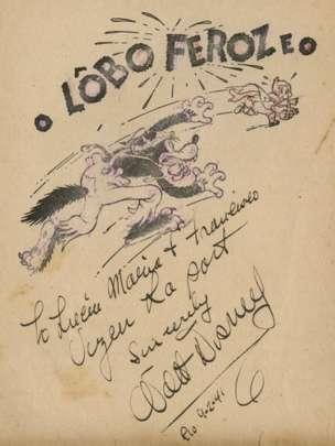 El dibujante y creador Walt Diney autografió este libro del Lobo Feroz que se vende por US$6.500. RAAB COLLECTION
