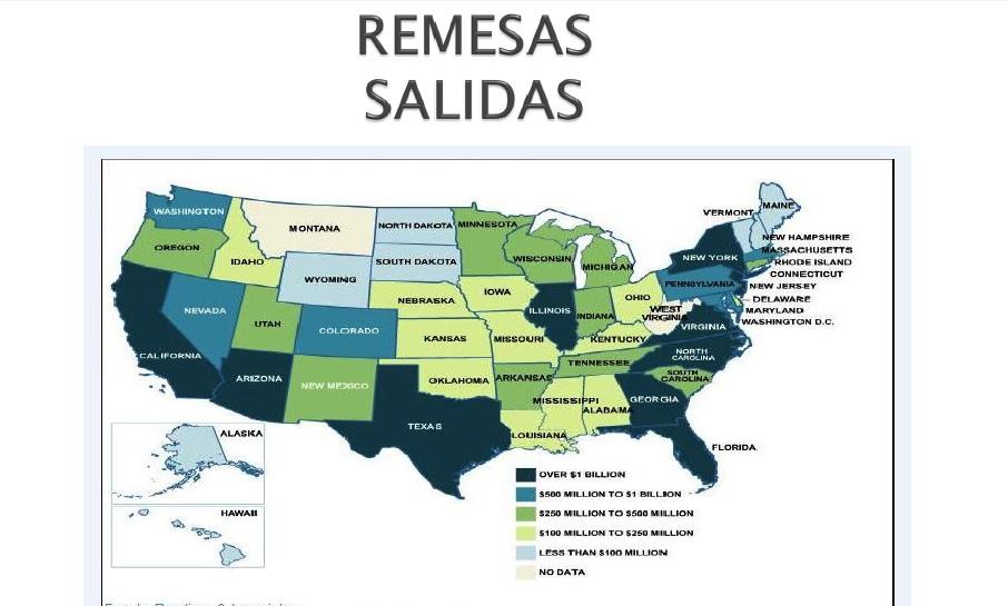 Estados de donde envían el mayor número de remesas familiares