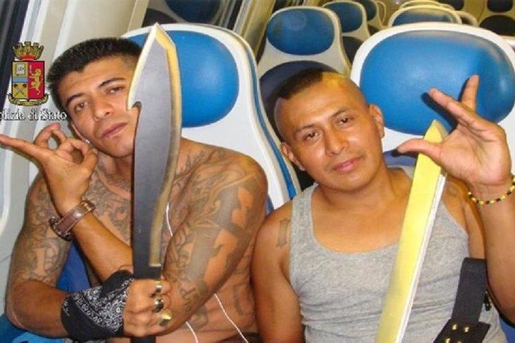 <em>Dos integrantes del Barriio 18 detenidos en Italia. (Foto Prensa Libre: PI)</em>