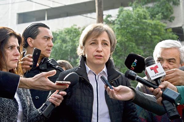 Carmen Aristegui da una conferencia de prensa en la Ciudad de México. (Foto Prensa Libre:EFE)EFE