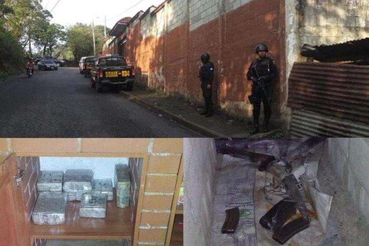 Autoridades allanan un inmueble en la aldea Las Anonas, San José Pinula, donde se localiza dinero en efectivo y armas de fuego. (Foto Prensa Libre: Twitter)