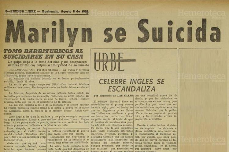 Página de Prensa Libre en donde se indicaba la muerte de Marilyn Monroe. (Foto: Hemeroteca PL)