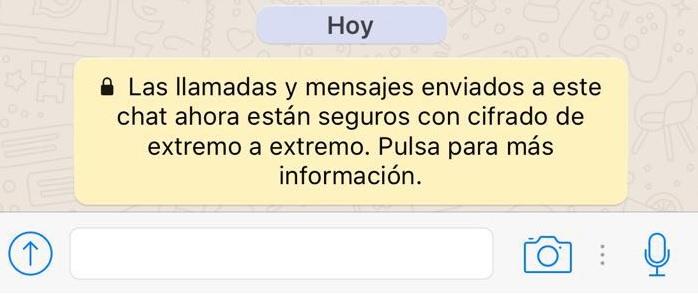 Este es el aviso que aparece ahora al iniciar nuevos chats, siempre y cuando se cuente con la más nueva versión de WhatsApp. (Foto: Hemeroteca PL).