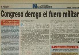 Nota del 13 de junio de 1996 informando sobre la derogación del fuero militar. (Foto: Hemeroteca PL)