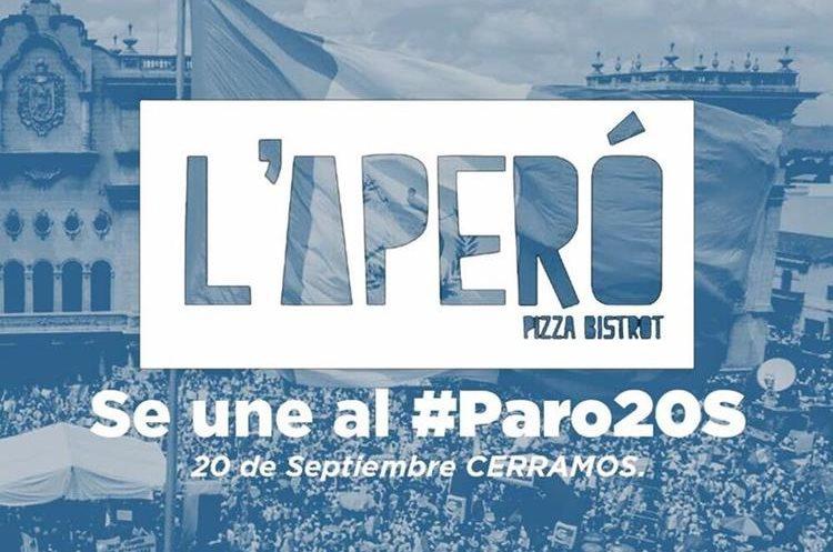 Restaurante y pizzeria L´Aperó tampoco atenderá éste 20 de septiembre. (Foto Prensa Libre: Cortesía)