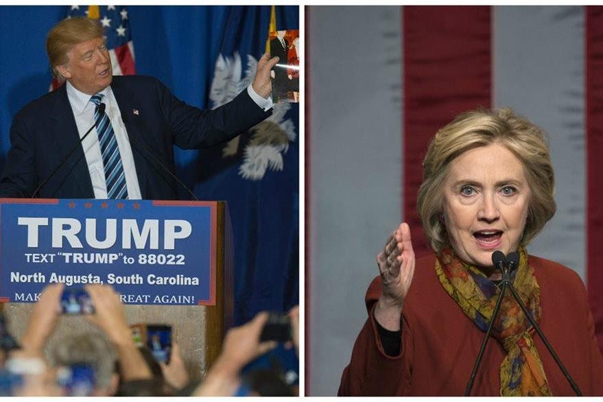 Trump (i) y Clinton (d), lideran los sondeos en sus partidos. (Foto Prensa Libre: Agencias).