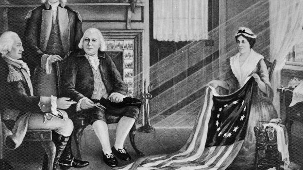 El cuadro que alimentó la leyenda sobre la creación de la primera bandera de Estados Unidos. GETTY IMAGES