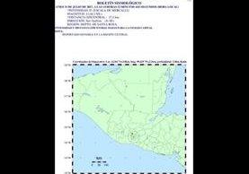 El sismo de magnitud 4.1 se sintió a las 14.52 horas con epicentro en Santa Rosa. (Foto Prensa Libre: Insivumeh)