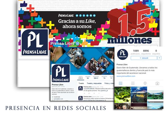 La presencia de Prensa Libre en las principales redes sociales.(Foto Hemeroteca PL)