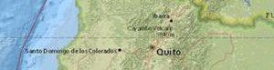 Lugar del sismo en Ecuador.
