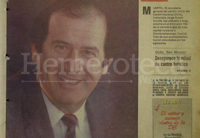 Detalle de la portada de Prensa Libre del 4 de julio de 1993 informando sobre la muerte de Jorge Carpio. (Foto: Hemeroteca PL)