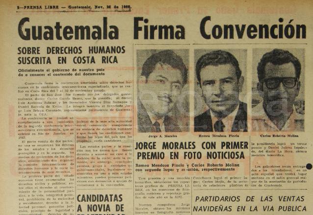 Nota de Prensa Libre del 26 de noviembre de 1969 informando sobre la firma del Pacto de San José. (Foto: Hemeroteca PL)