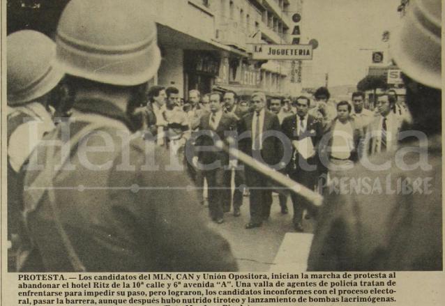 Candidatos inconformes con los resultados de las elecciones de 1982 salieron a manifestar, algunos fueron detenidos por unas horas. (Foto: Hemeroteca PL)