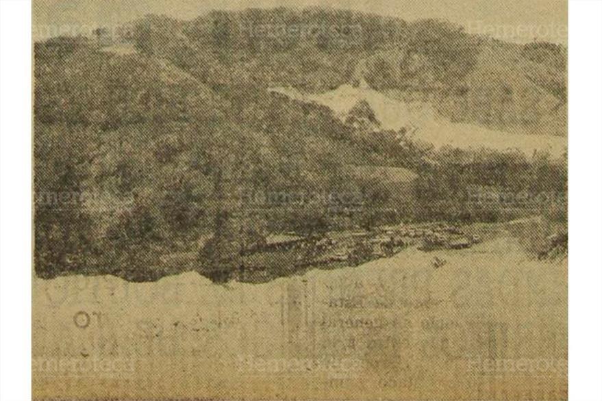 Vista del lugar donde se construiría la hidroeléctrica Aguacapa, según foto de febrero de 1976. (Foto: Hemeroteca PL)