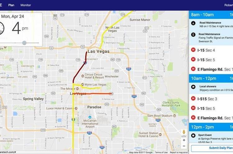 Fotografía de la aplicación Waycare que muestra puntos con proyectos de mantenimiento en una carretera de Las Vegas, Nevada (Foto Prensa Libre: EFE).