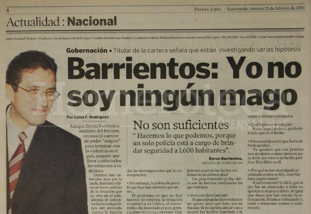 Entrevista al ministro de gobernación Byron Barrientos publicada el 23 de febrero de 2001. (Foto: Hemeroteca PL)