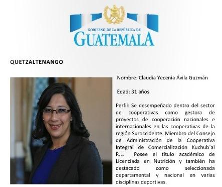 Claudia Yesenia Ávila Guzmán fue electa como gobernadora de Quetzaltenango. (Foto Prensa Libre)