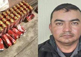 Cerveza decomisada al guardia Ray Fernando Gutiérrez Arresis, en Quetzaltenango. (Foto Prensa Libre: María José Longo).