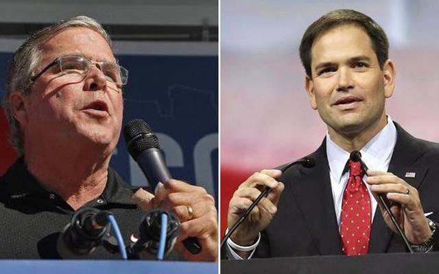 Jeb Bush y Marco Rubio, precandidatos republicanos a la Presidencia de EE.UU.