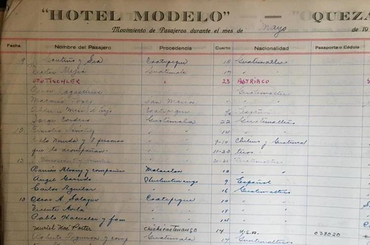 En el libro de registros del Hotel Modelo, en Xelajú, se observa que Pablo Neruda visitó esa ciudad en 1950. (Foto Prensa Libre: Cortesía hotel Modelo)