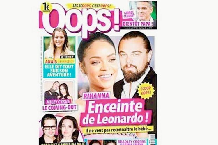 Ejemplar de la revista Ooops!, la cual acusa a DiCaprio del supuesto embarazo de Rihanna. (Foto Prensa Libre: Hemeroteca PL)
