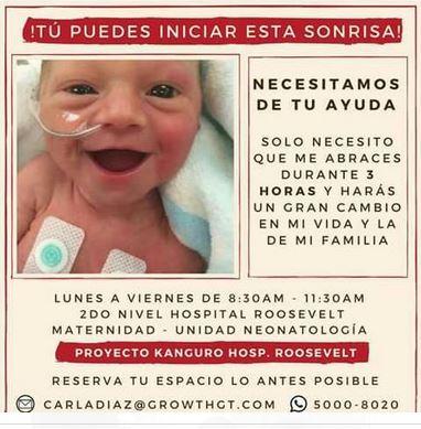 Esta es la imágen que circula en redes sociales y con la que se invita a ser parte del programa Canguro, pero no está avalado por el Hospital Roosevelt. (Foto Prensa Libre)