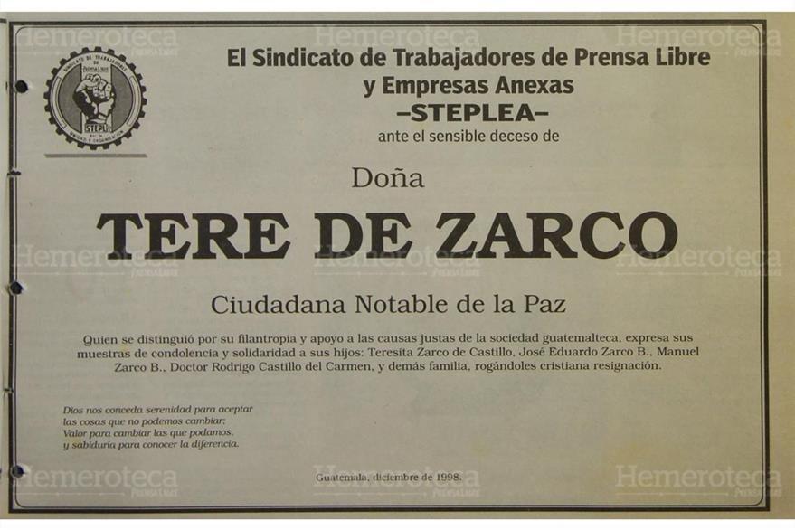 Esquela publicada el 26 de diciembre de 1998. (Foto: Hemeroteca PL)