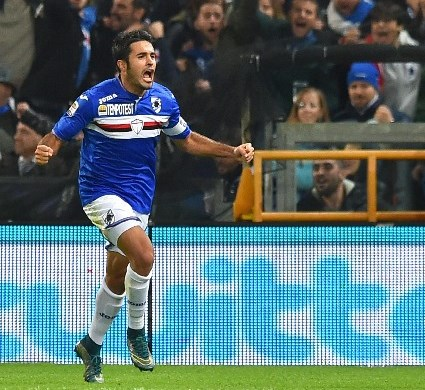 Martin Citadin Eder de la Sampdoria celebra su gol ante el Empoli. (Foto Prensa Libre: EFE)
