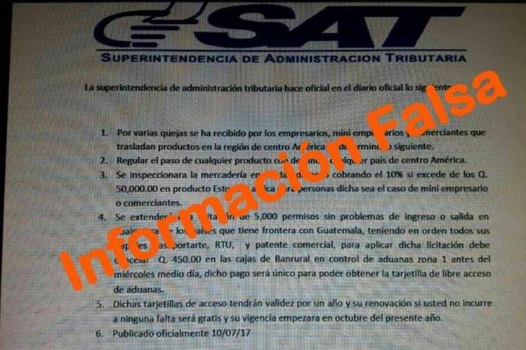 La SAT en Facebook advierte a los contribuyentes que esta información es falsa. (Foto Prensa Libre: SAT)