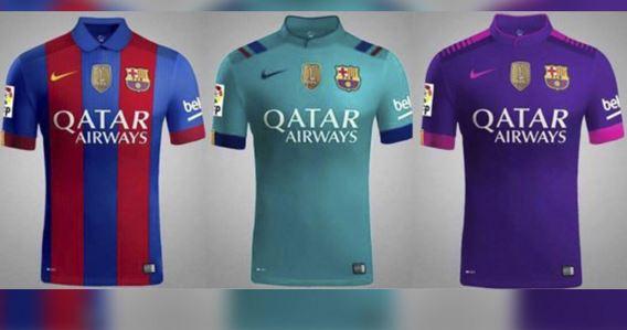 Estos son los tres nuevos diseños de la playera del Barcelona para la campaña 2016-2017. (Foto redes sociales)