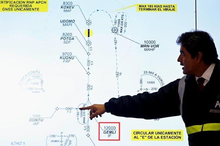 El secretario de Seguridad Aérea de Aerocivil de Colombia, coronel Fredy Bonilla, muestra la trayectoria de vuelo del avión de LaMia. (Foto Prensa Libre: EFE).