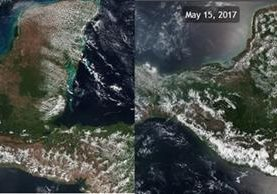 Imagen satelital muestra la deforestación, en marzo, y el crecimiento de la vegetación por la lluvia, en mayo. (Foto Prensa Libre: Cortesía Clima Guatemala)