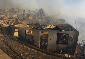 El incendio forestal destruyo 120 viviendad en Valparaíso.(EFE).