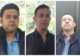 Manuel Felipe Arenales Monroy, alias Ducati; el Mayor de infantería, Mynor Francisco Leonardo Cerón y Elmer Abraham Ochoa Hernández, extraditados a EE. UU. (Foto Prensa Libre: DGSP)