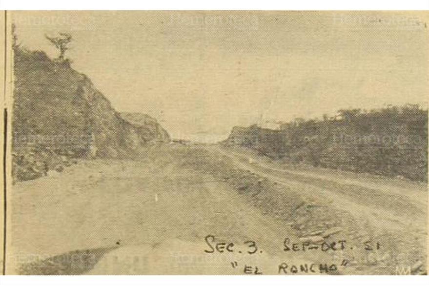 El Rancho, una de las  partes de la futura carretera en construcción, el 19/1/1952. (Foto: Hemeroteca PL)