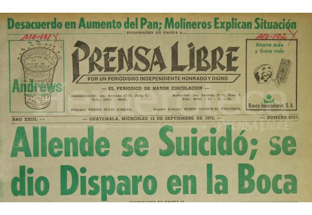 Titular de Prensa Libre del 11/09/1973. (Foto: Hemeroteca PL)