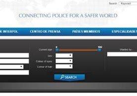 Las alertas de Alba Elvira Lorenzana Cardona y Luis Alberto Mendizábal Barrutia no aparecen en la página de Interpol. (Foto Prensa Libre: Tomada de la página de Interpol)