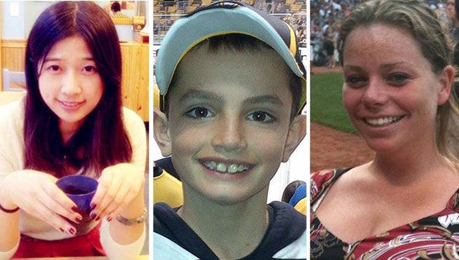 Estas son las tres víctimas mortales del atentado, de izquierda a derecha, Lu Lingzi, estudiante de origen asiático, Martin Richard, de 8 años y Krystle Campbell una joven de 29 años. (Foto Prensa Libre: Internet).