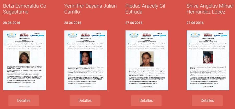 Varias instituciones divulgan a través de medios electrónicos boletines con datos básicos y la fotografía de los menores desaparecidos. (Foto Prensa Libre: Sistema Alba-Keneth)
