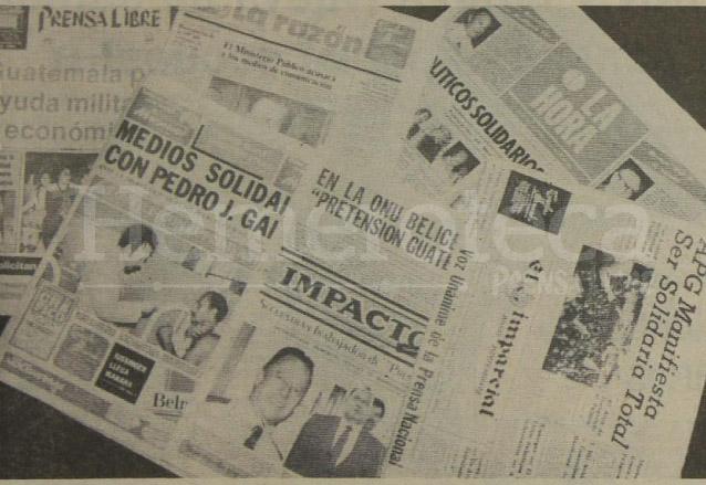 Los diferentes periódicos y medios de comunicación del país se solidarizaron con la familia de Pedro Julio García y este matutino para pedir su pronta liberación. (Foto: Hemeroteca PL)
