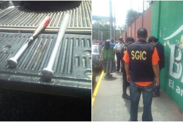 La PNC hizo un operativo de seguridad previo al juego entre Municipal y Marquense. (Foto Prensa Libre: PNC)