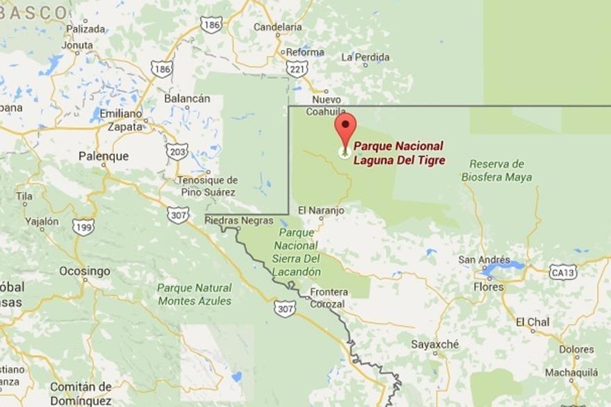 Mapa muestra ubicación del Parque Nacional Laguna del Tigre. (Foto Prensa Libre: Google Maps)
