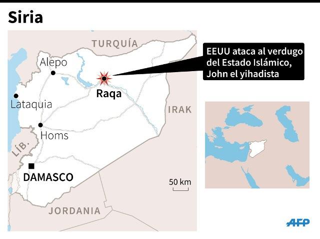 Área donde se perpetró el ataque de las fuerzas armadas de EE. UU. (Infografía: AFP).