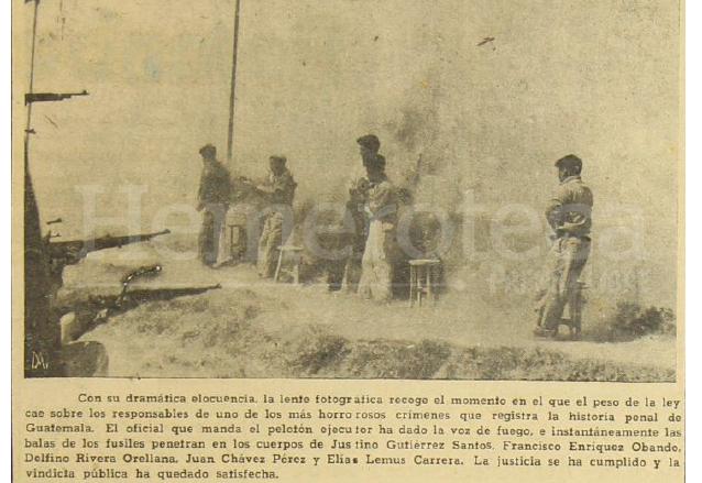 Fusilamiento de Justino Gutiérrez Santos, Francisco Enriquez Obando, Delfino Rivera Orellana, Juan Chávez Pérez y Elías Lemus Carrera realizado el 19 de marzo de 1952 en el paredón de la desaparecida Penitenciaría Central. (Foto: Hemeroteca PL)