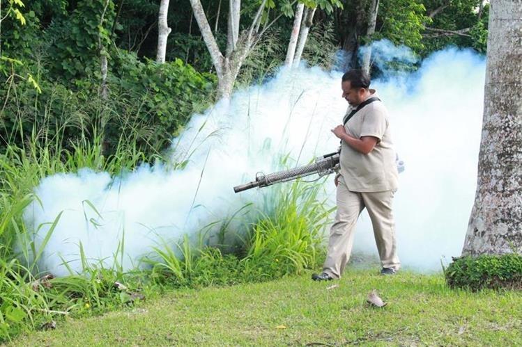 Un trabajador del Área de Vectores en Izabal fumiga plantaciones cercanas a las viviendas. (Foto Prensa Libre: Dony Stewart)
