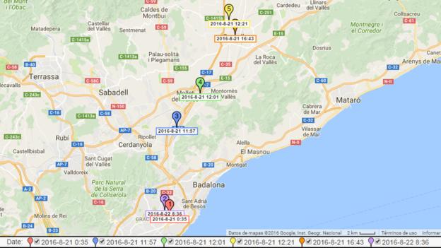 Mapa elaborado por los dos ingenieros españoles que muestra los lugares exactos en los que estuvo un usuario de Tinder a lo largo de un día. (MARC PRATLLUSÀ / ORIOL MARTÍNEZ)