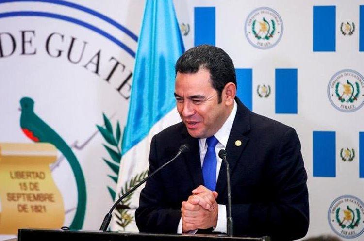 El presidente Jimmy Morales durante su discurso en Jerusalén.