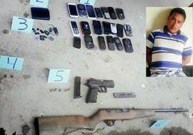 Jeremías de León, de 22 años, fue capturado en San Bartolomé Jocotenango, Quiché, y le decomisaron dos armas de fuego y 20 teléfonos móviles. (Foto Prensa Libre: Óscar Figueroa)