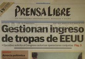 Titular de Prensa Libre del 29 de marzo de 2000 informando sobre la solicitud del ingreso de tropas norteamericanas al país. (Foto: Hemeroteca PL)