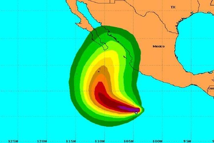 """Ubicación del huracán """"Sandra"""" en el Pacítico."""